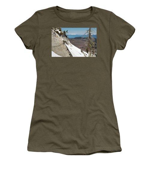 Snowboarder Jumping Off Rock Women's T-Shirt