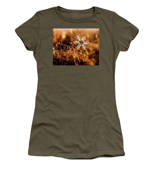 Snowflake On Brown Women's T-Shirt (Athletic Fit)