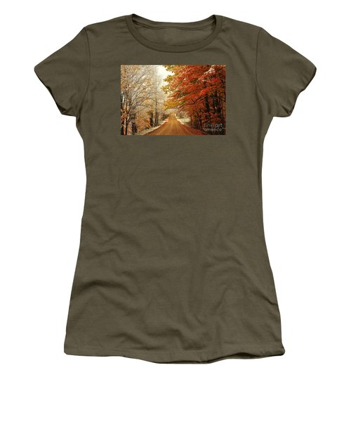 Snowy Autumn Road Women's T-Shirt (Athletic Fit)