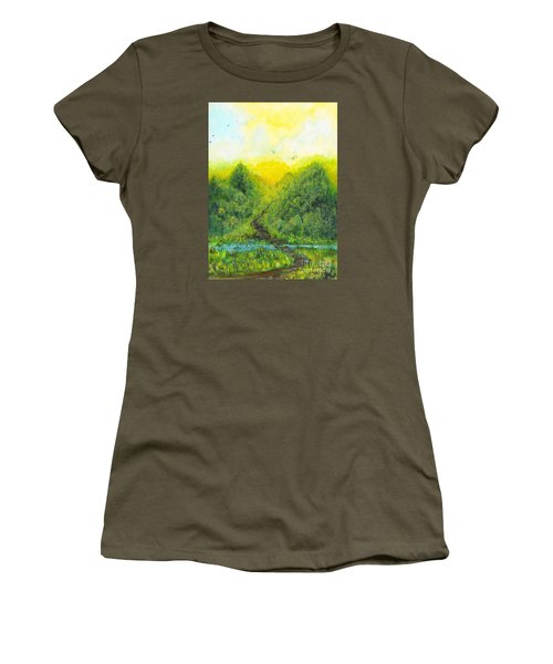 Women's T-Shirt (Junior Cut) featuring the painting Sonsoshone by Holly Carmichael