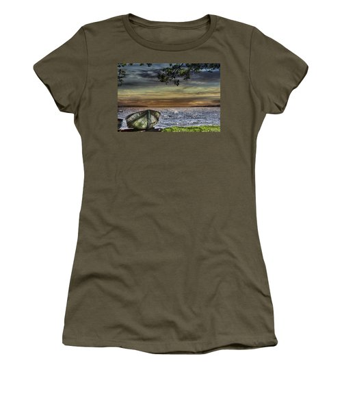 South Manistique Lake With Rowboat Women's T-Shirt (Athletic Fit)