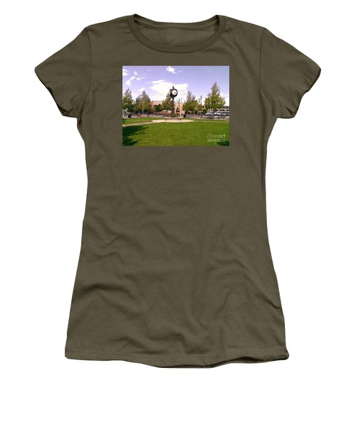 Women's T-Shirt (Junior Cut) featuring the photograph Sparks Community Clock by Bobbee Rickard