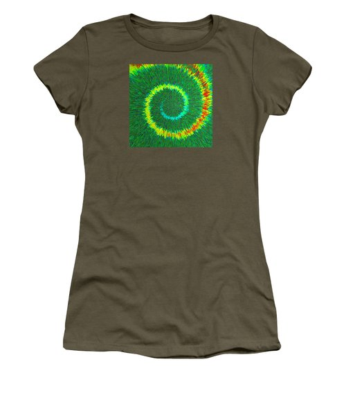 Women's T-Shirt (Junior Cut) featuring the painting Spiral Rainbow C2014 by Paul Ashby