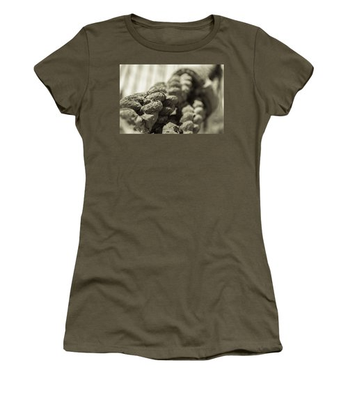 Spliced And Bound Black And White Sepia Women's T-Shirt