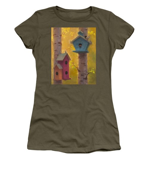 Spring Chickadees 2 - Birdhouse And Birch Forest Women's T-Shirt