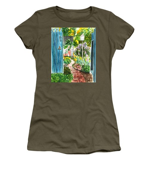 Women's T-Shirt (Junior Cut) featuring the painting Spring Garden by Clara Sue Beym