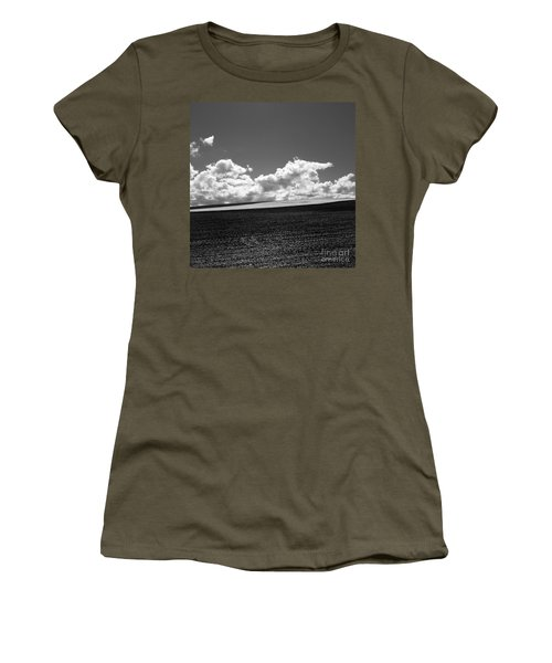 Sprouting Field Of Sunflowers And Field Of Rape At Back. Auvergne. France Women's T-Shirt