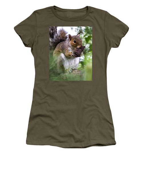 Squirrel With Pine Cone Women's T-Shirt