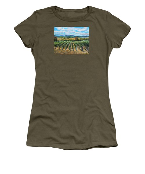 Women's T-Shirt (Junior Cut) featuring the painting Stags' Leap Vineyard by Rita Brown