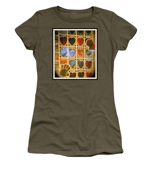 Women's T-Shirt (Junior Cut) featuring the photograph Stained Glass Hands And Hearts by Kathy Barney