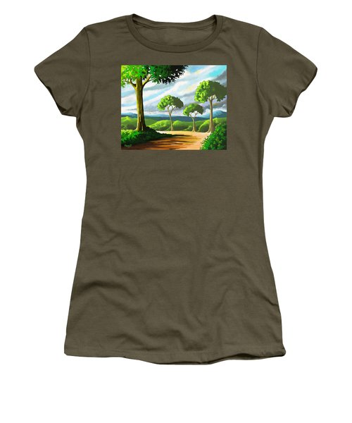 Women's T-Shirt (Junior Cut) featuring the painting Standing Tall by Anthony Mwangi
