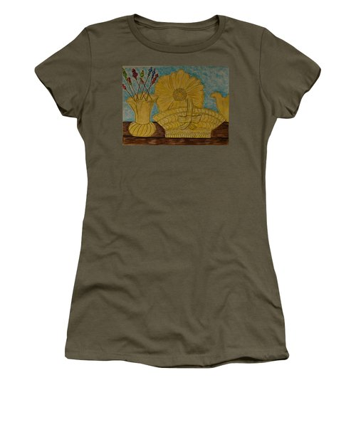 Women's T-Shirt (Junior Cut) featuring the painting Stangl Pottery Satin Yellow Pattern And Vintage Hat Pins by Kathy Marrs Chandler