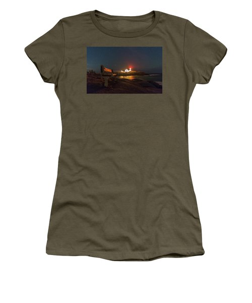 Starry Skies Over Nubble Lighthouse  Women's T-Shirt