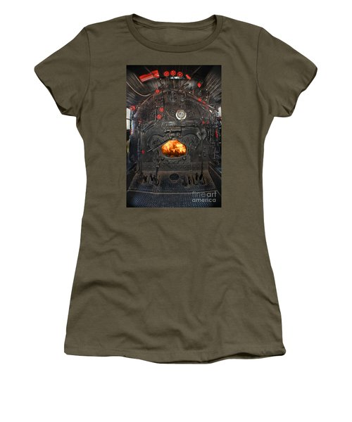 Women's T-Shirt featuring the photograph Steam Locomotive Fire Tube Firebox by Gary Keesler