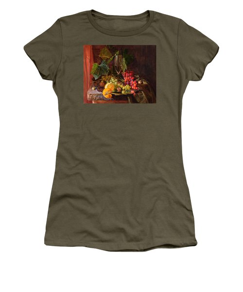 Still-life With A Glass Of Wine And Grapes Women's T-Shirt (Athletic Fit)