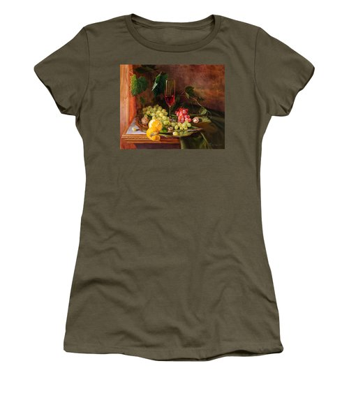 Still Life With Grapes And Grapevine Women's T-Shirt (Athletic Fit)