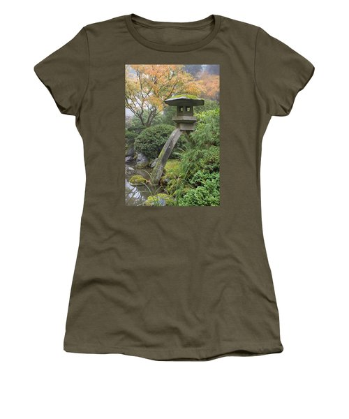 Women's T-Shirt (Junior Cut) featuring the photograph Stone Lantern In Japanese Garden by JPLDesigns