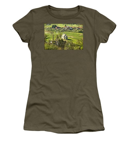 Stone Made Church In Green Nature Women's T-Shirt (Athletic Fit)