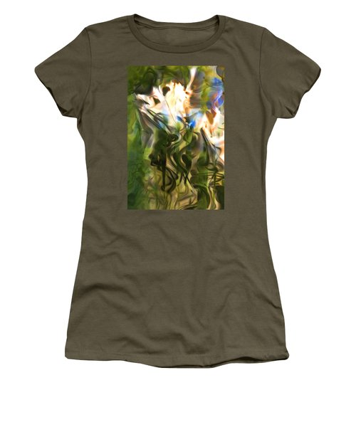 Women's T-Shirt (Junior Cut) featuring the digital art Stork In The Music Garden by Richard Thomas