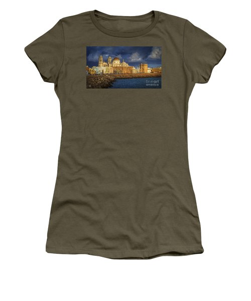Stormy Skies Over The Cathedral Cadiz Spain Women's T-Shirt