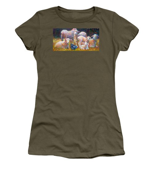 Stranger At The Well - Spring Lambs Sheep And Hen Women's T-Shirt