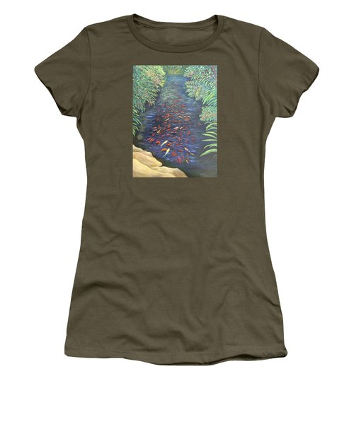 Women's T-Shirt featuring the painting Stream Of Koi by Karen Zuk Rosenblatt