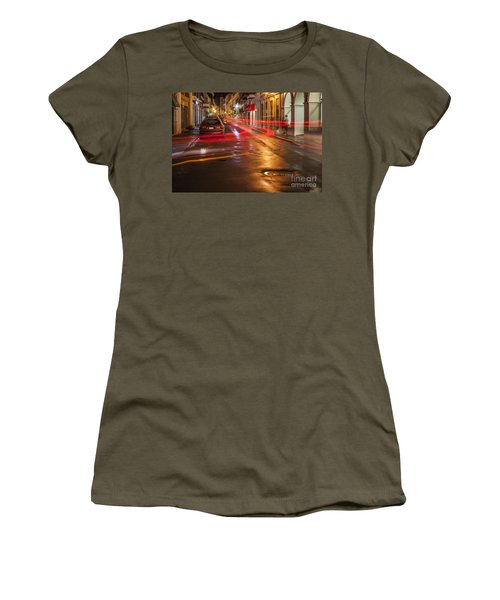 Women's T-Shirt featuring the photograph Streetscene At Night In Old San Juan Puerto Rico by Bryan Mullennix