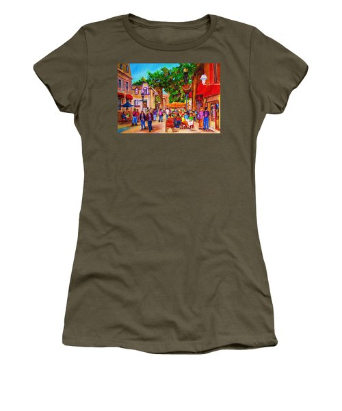 Women's T-Shirt (Junior Cut) featuring the painting Summer Cafes by Carole Spandau