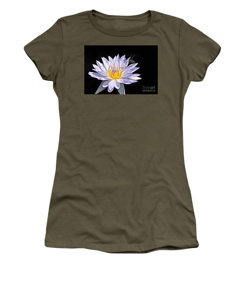 Summer Magic -- Dragonfly On Waterlily On Black Women's T-Shirt