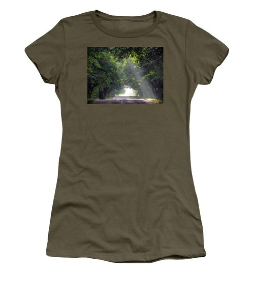 Sun Rays On Waters End Road Women's T-Shirt (Junior Cut) by David T Wilkinson