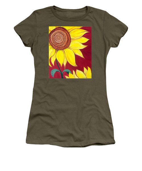 Sunflower On Red Women's T-Shirt