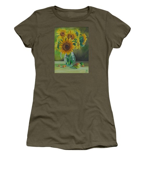 Women's T-Shirt (Junior Cut) featuring the painting Sunflowers In Glass Jug by Nina Mitkova