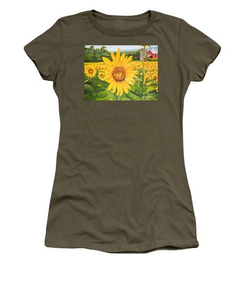 Sunflowers - Red Barn - Pennsylvania Women's T-Shirt