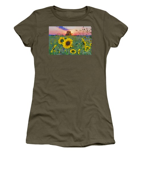 Sunflowers Sunset Women's T-Shirt (Athletic Fit)