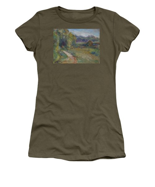 Sunny Morning In The Park -wetlands - Original - Textural Palette Knife Painting Women's T-Shirt