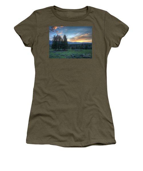 Sunrise Behind Pine Trees In Yellowstone Women's T-Shirt
