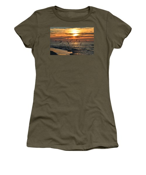 Women's T-Shirt (Junior Cut) featuring the photograph Sunrise Colors Over Navarre Beach With Flock Of Seagulls by Jeff at JSJ Photography