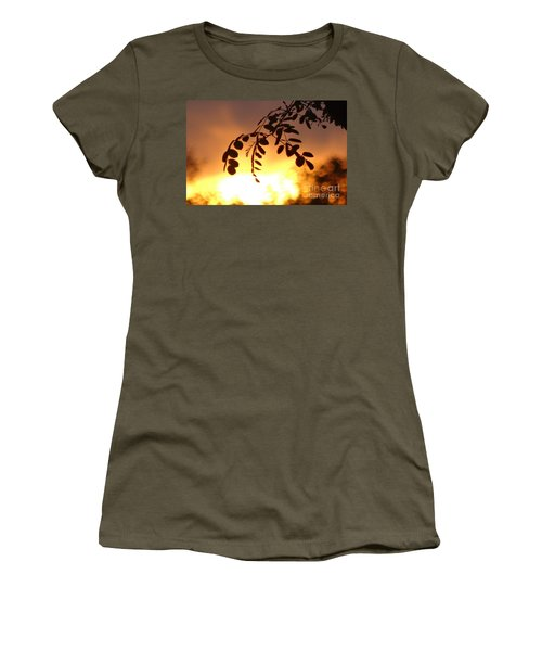 Sunset And Leaves Women's T-Shirt (Junior Cut) by Justin Moore
