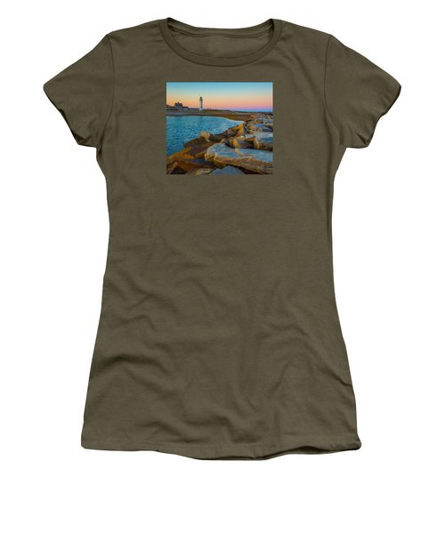 Sunset At Old Scituate Lighthouse Women's T-Shirt (Athletic Fit)
