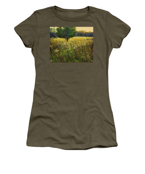 Women's T-Shirt (Junior Cut) featuring the photograph Sunset Meadow by John Hansen