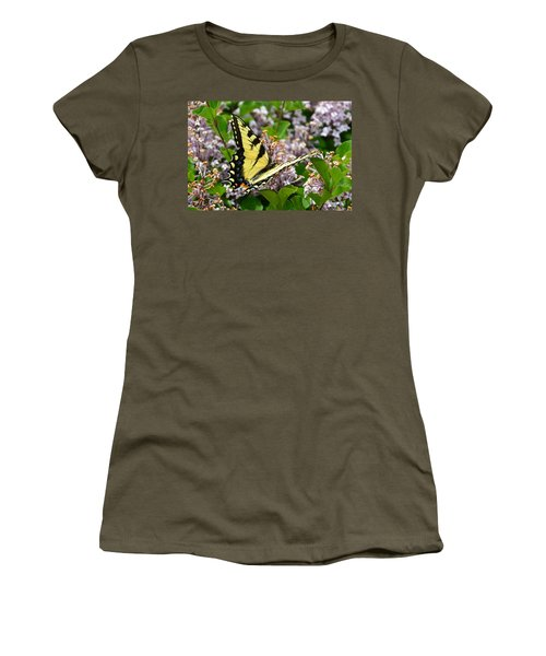 Swallowtail On Lilacs Women's T-Shirt (Athletic Fit)