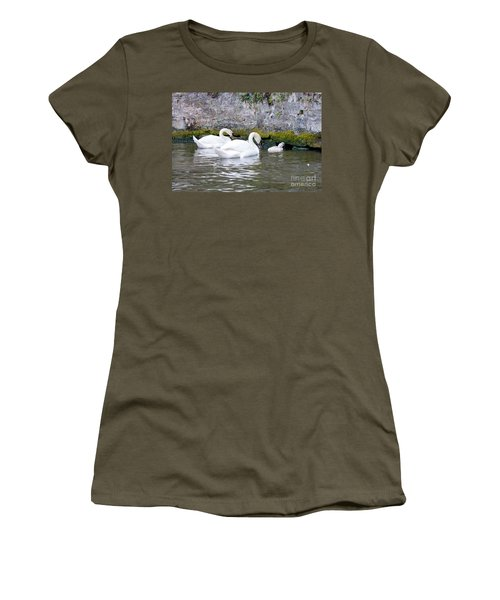 Swans And Cygnets In Brugge Canal Belgium Women's T-Shirt