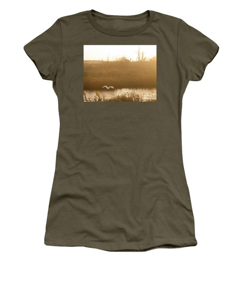 Women's T-Shirt (Athletic Fit) featuring the photograph Taking Off Into A Golden Sunrise by Carol Lynn Coronios