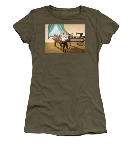 Women's T-Shirt (Junior Cut) featuring the painting Tammy The Little Doll Girl  by Reynold Jay