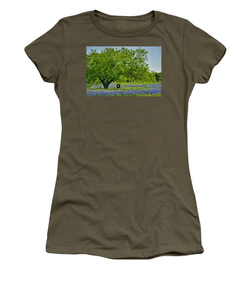 Women's T-Shirt (Junior Cut) featuring the photograph Texas Life - Bluebonnet Wildflowers Landscape Tire Swing by Jon Holiday