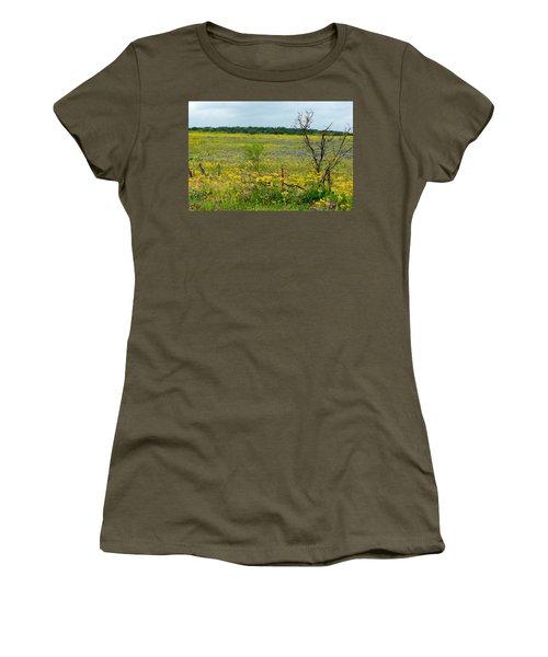 Texas Wildflowers And Mesquite Tree Women's T-Shirt