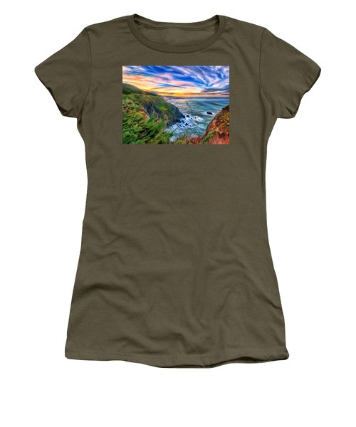 Women's T-Shirt (Junior Cut) featuring the painting The Beauty Of Big Sur by Michael Pickett