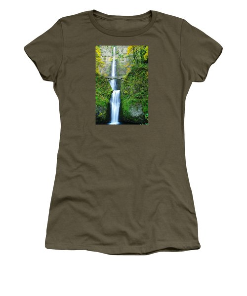 The Beauty Of Multnomah Falls Women's T-Shirt (Junior Cut) by Jeff Swan
