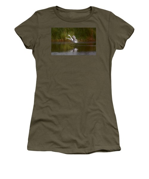 Women's T-Shirt (Junior Cut) featuring the photograph The Great Egret by Leticia Latocki