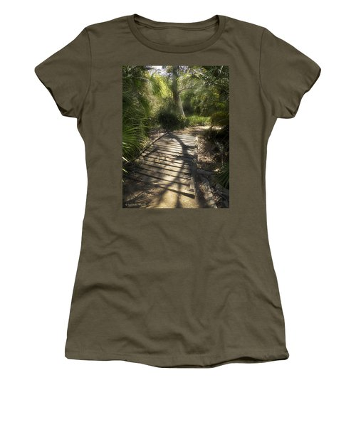 Women's T-Shirt (Junior Cut) featuring the photograph The Journey Along The Path Comes With Light And Shadows by Lucinda Walter